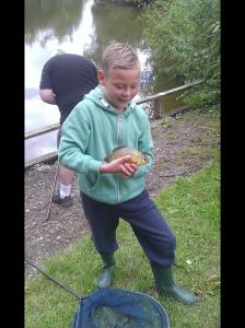 Freddie's brother Jake Didd catching a lovely crucian carp during his first session in the Lymm AC Academy.