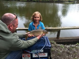 Alex's first fish during the Lymm AC Juniors Academy