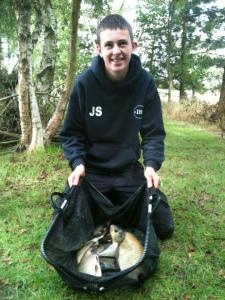 Jack Stansfield on his first match with us taking winning spot with 13lb 5oz of mainly skimmers caught on corn over hemp