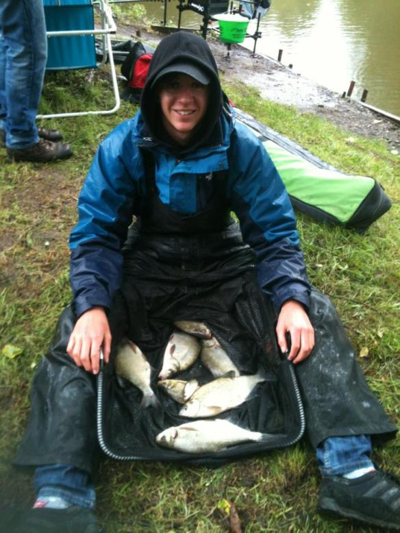 Elliott Mavers with his net of 5lb 13oz of skimmers caught on sweetcorn over liquidized bread