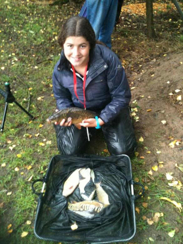 Sarah Taylor catch of two carp and silvers for 7lb 11oz taken on corn over Liquidized bread.