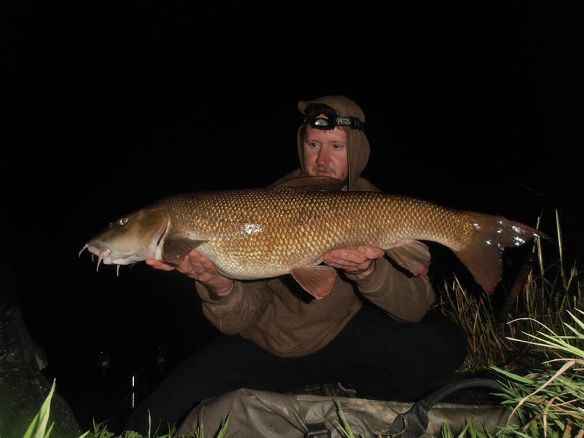 Bar of Gold!  Ian's first double and new PB 10lb 2oz barbel.