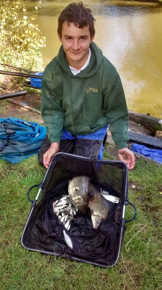 Ben Fowler with a nice net of margin carp and silvers for 8lb 7oz for second