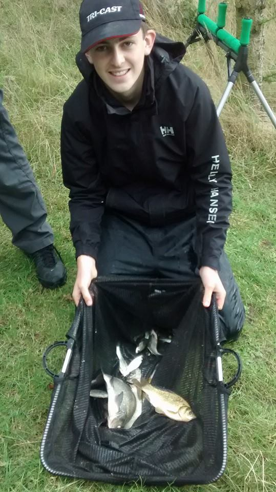 Jack Stansfield with a net of 3lb 15oz of skimmers and a small carp