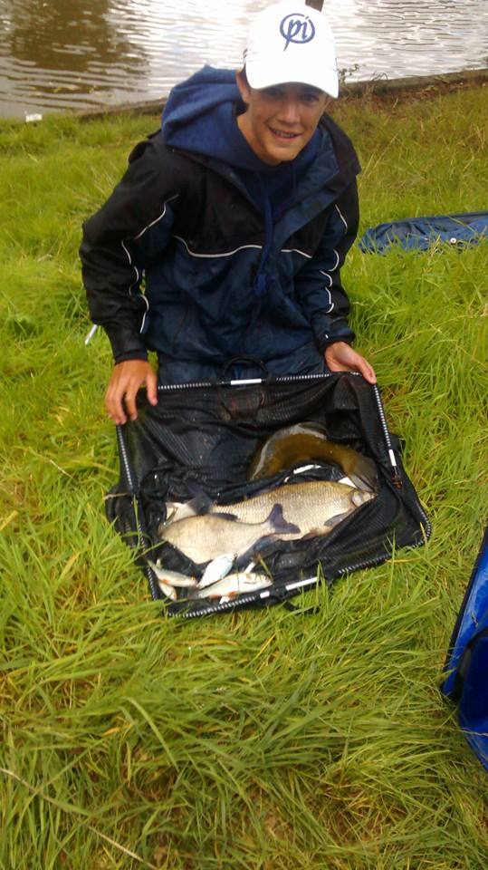 Yestyn Sephton with his catch of 10lb 7oz of skimmers and a tench good enough for the win